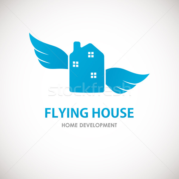 Small blue house with wings. Stock photo © mcherevan