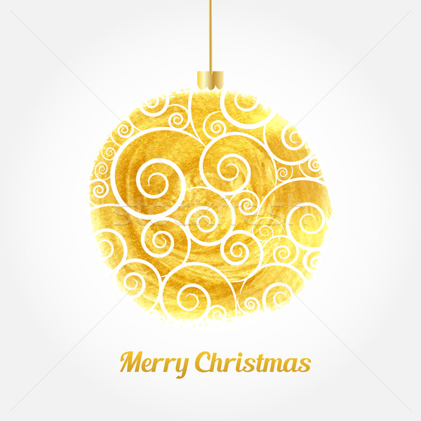 Stock photo: Golden watercolor painted vector Christmas ball