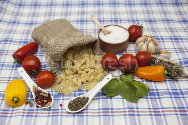 Сток-фото: итальянский · пасты · набор · создание · помидоры · черри · оливкового · масла