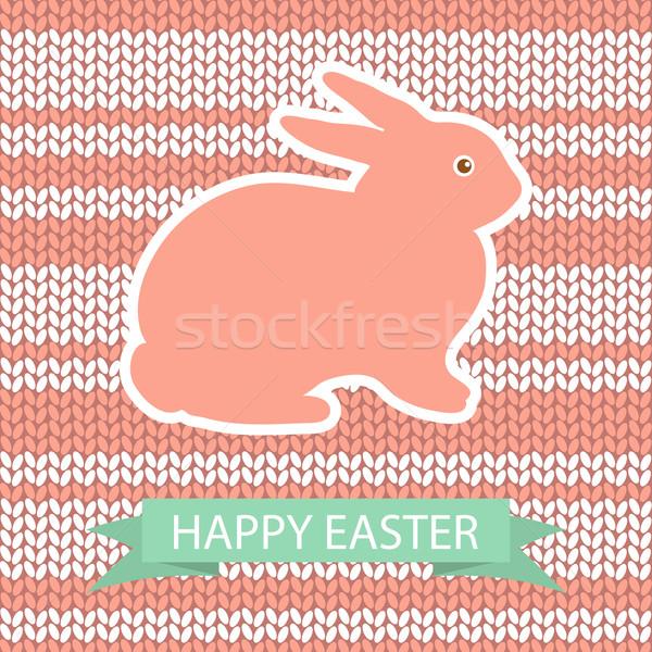 Wielkanoc karty różowy królik wełny kwiat Zdjęcia stock © mcherevan