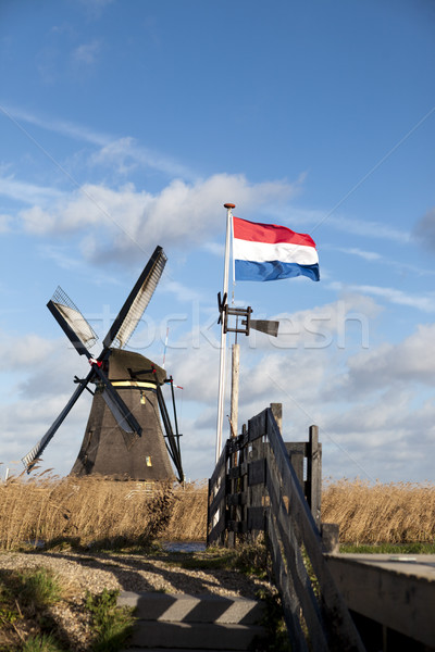 Old windmill with the Netherlands flag. White clouds on a blue sky, the wind is blowing. Stock photo © mcherevan