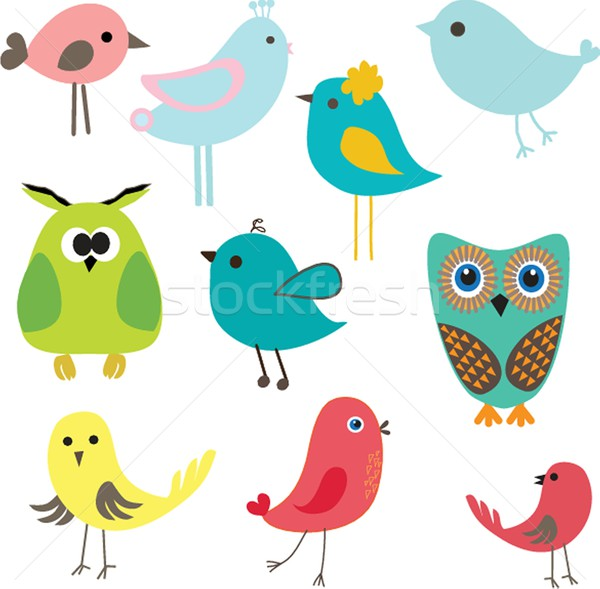 Cute birds set. Vintage vector illustration Stock photo © mcherevan