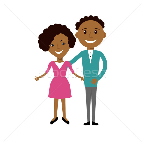 Couple of young smiling African American man and woman in casual clothes. Stock photo © mcherevan