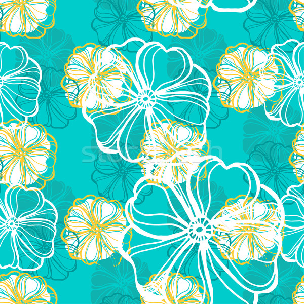 Seamless pattern with tropical Hibiscus flowers.  Stock photo © mcherevan