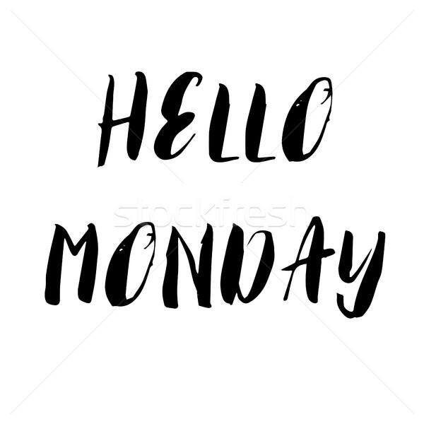 Hello Monday. Motivational hand lettering design Stock photo © mcherevan