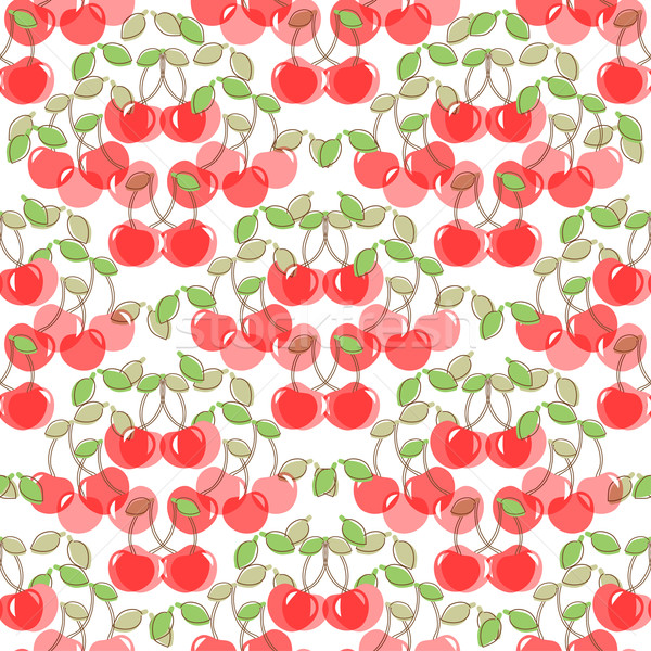 Seamless pattern with watercolor berry cherry. Endless repeating print background texture. Fabric de Stock photo © mcherevan