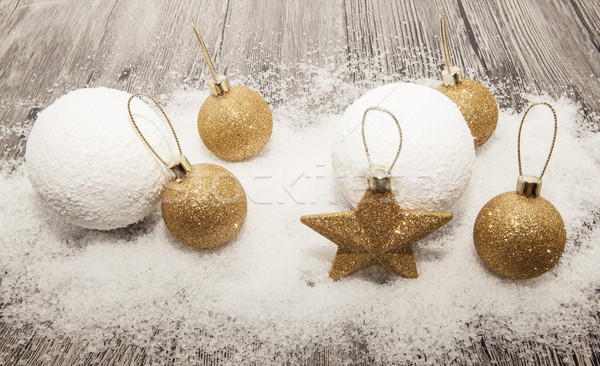 Goud christmas winter sneeuw Stockfoto © mcherevan