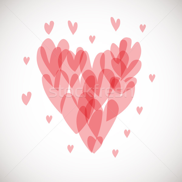 Valentines day hearts composition from small pink hearts Stock photo © mcherevan