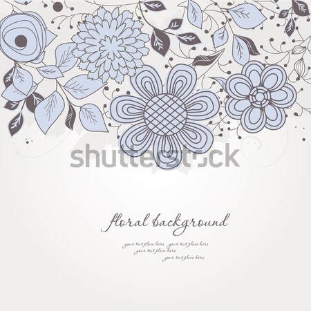 Vintage floral card with handdrawn flowers Stock photo © mcherevan