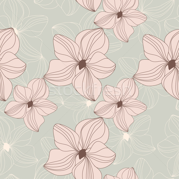 Retro seamless pattern with pink orchid flowers on beige background Stock photo © mcherevan