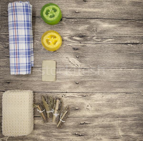 Zestaw spa wykonany ręcznie mydło gąbki ręcznik Zdjęcia stock © mcherevan