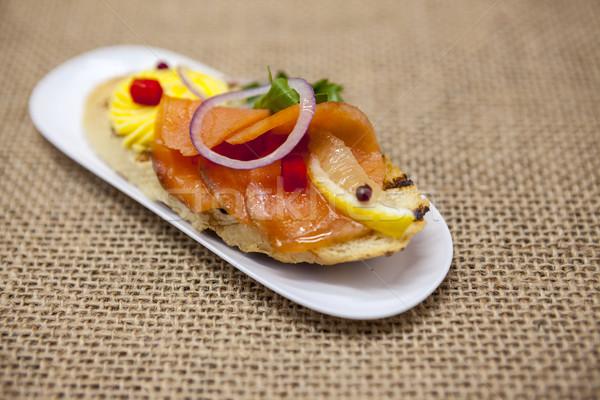 Friss spanyol tapas kenyér francia kenyér füstölt Stock fotó © mcherevan