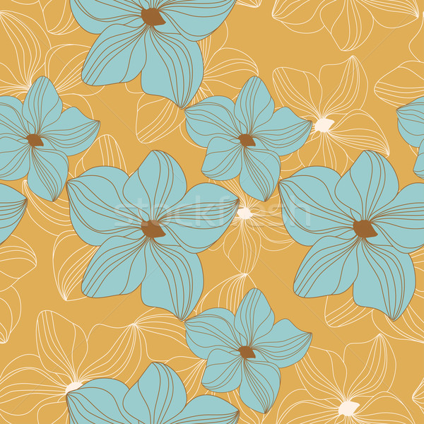 Retro seamless pattern with blue orchid flowers on yellow background Stock photo © mcherevan
