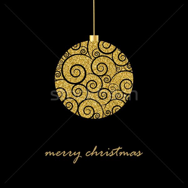 Fekete karácsony csillámlás arany labda szöveg Stock fotó © mcherevan