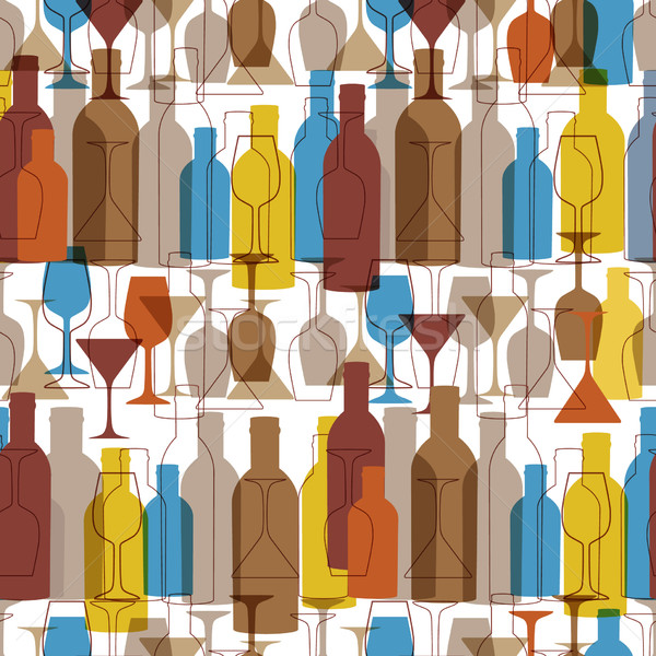 Seamless background with wine bottles and glasses. Bright colors wine pattern for web, poster, texti Stock photo © mcherevan