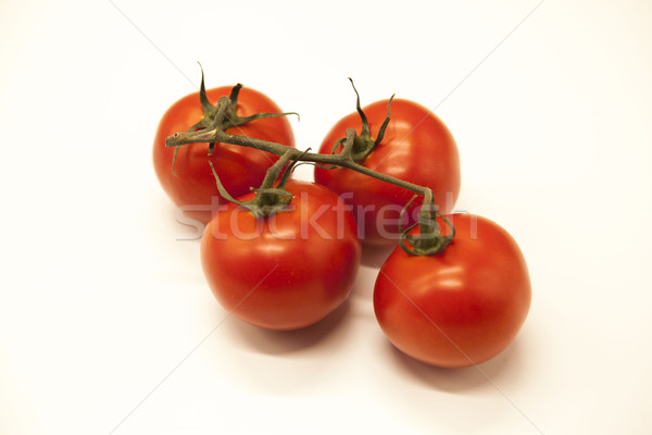 Fresh branch of red Sicilian ripe tomatoes on a white background Stock photo © mcherevan