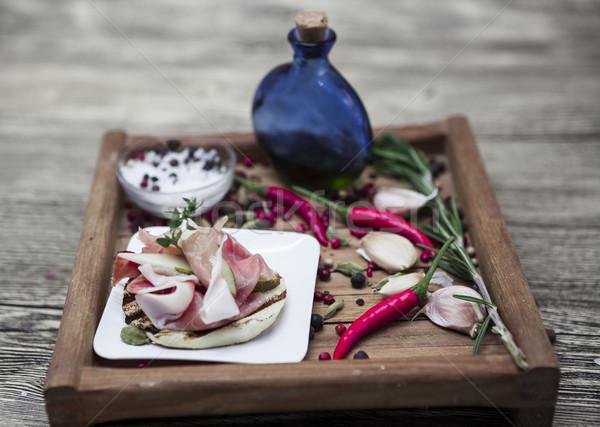 Mooie houten tapas hot Rood peper Stockfoto © mcherevan