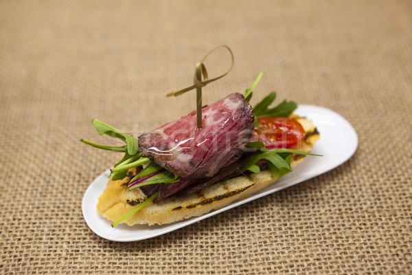 Friss finom spanyol tapas marhahús textíliák Stock fotó © mcherevan