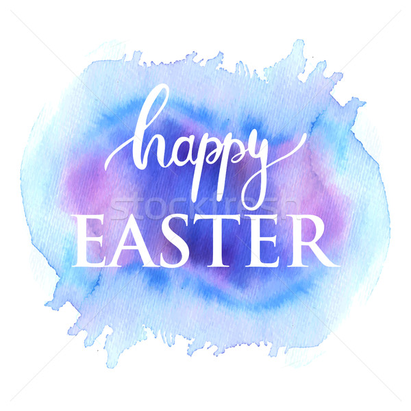Happy Easter ink lettering card design. White text on blu and pink watercolor painted background. Stock photo © mcherevan