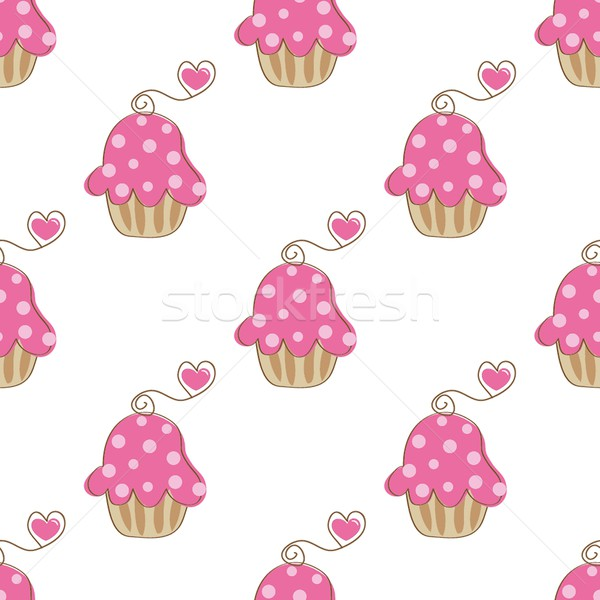 Cupcake retro seamless pattern with cute cake and heart cherry. Vector illustration for design of gi Stock photo © mcherevan