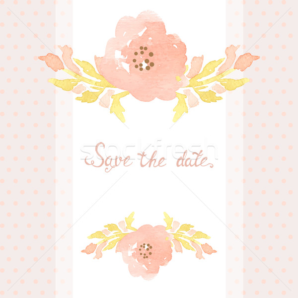 Wedding invitation card with flowers on polka dot background. Stock photo © mcherevan