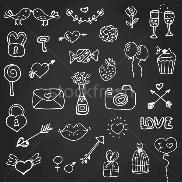 Set of valentines day doodle elements on chalk board Stock photo © mcherevan