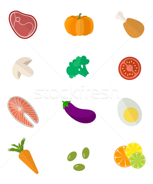 Foto stock: Alimentos · vector · color · alimentos · saludables · signo