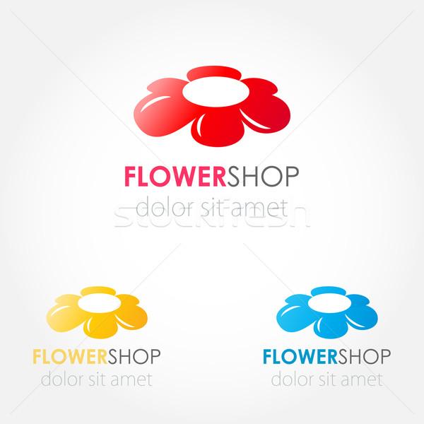 Abstrato flor do vetor logotipo assinar flores conjunto Foto stock © mcherevan