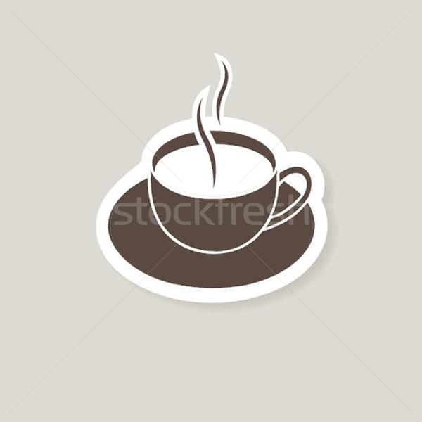 Warm beker koffie bruin hout achtergrond Stockfoto © mcherevan
