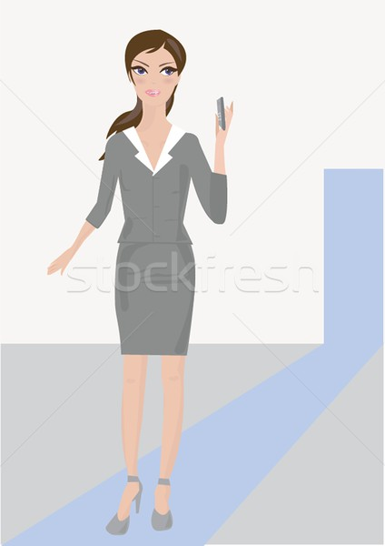 Business lady with positive look and cheerful smile posing for the camera Stock photo © mcherevan