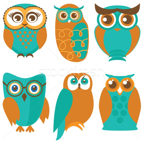 Owl set, cute owls and birds in orange , green colors Stock photo © mcherevan
