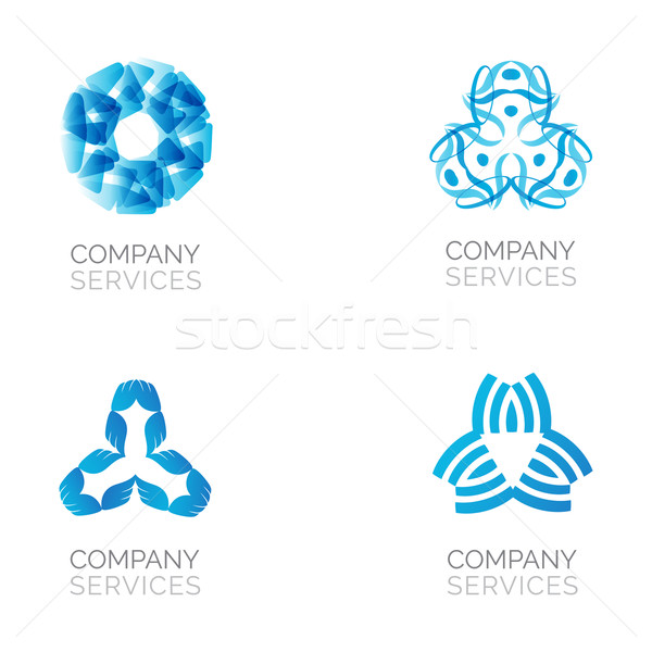 Set of four abstract blue logos. Vector logotypes with spiral, rhombus, crossed and circle elements. Stock photo © mcherevan