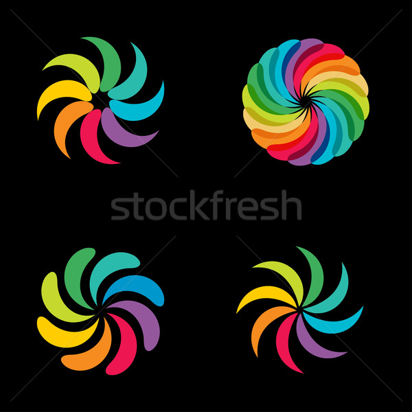 Lumineuses couleurs Rainbow fleur logo Photo stock © mcherevan