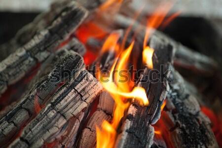 Gyönyörű tűz lángok fa absztrakt háttér Stock fotó © mcherevan