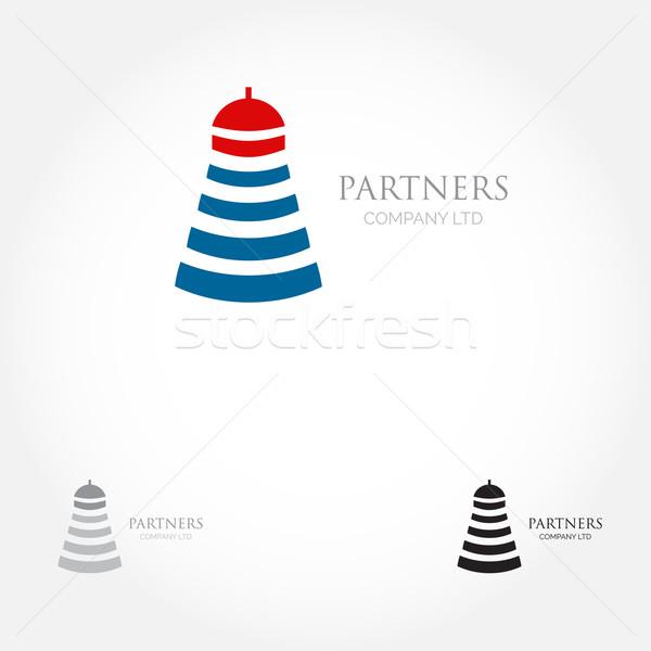 Vuurtoren logo grafisch ontwerp ontwerp bedrijfslogo Stockfoto © mcherevan