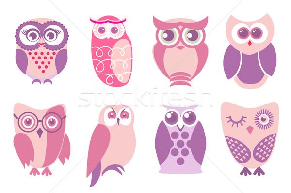 Set of cartoon pink owls. Vector illustration of cartoon owls in baby pink colors. Stock photo © mcherevan