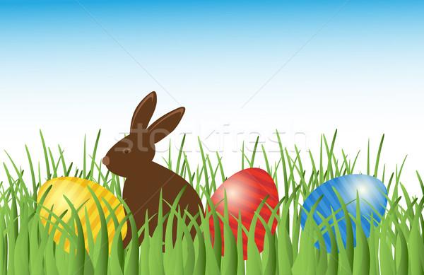 шоколадом Bunny пасхальных яиц трава вектора коричневый Сток-фото © mcherevan