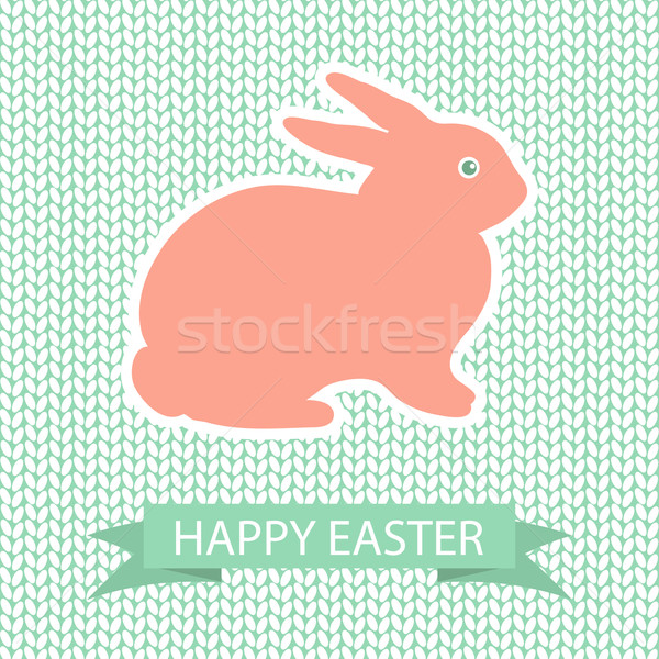 Easter card with pink rabbit on wool knited background Stock photo © mcherevan