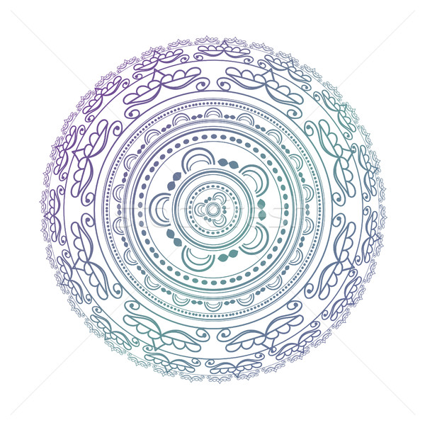 Mandala. Circle pattern in light pink, violet and blue colors. Stock photo © mcherevan