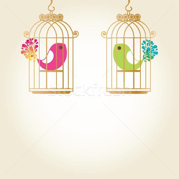 Cute  love birds in birdcage Stock photo © mcherevan