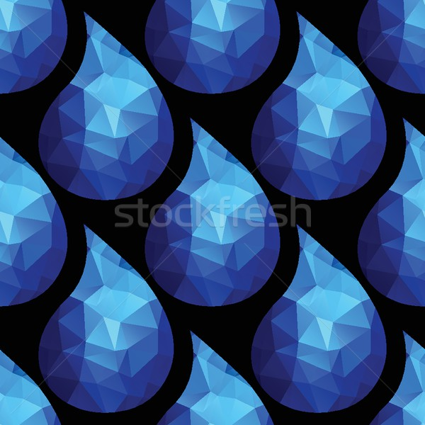 Seamless pattern with water drops from blue triangles on white background. Stock photo © mcherevan