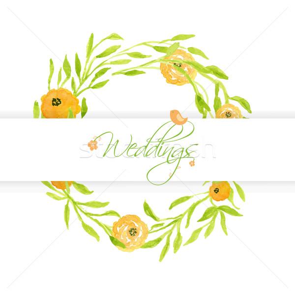 Wedding card with peach peonies wreath and cute bird. Watercolor painted vector card Stock photo © mcherevan