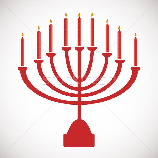 Vector illustration of hanukkah, jewish holiday. Hanukkah menora with  candles. Stock photo © mcherevan