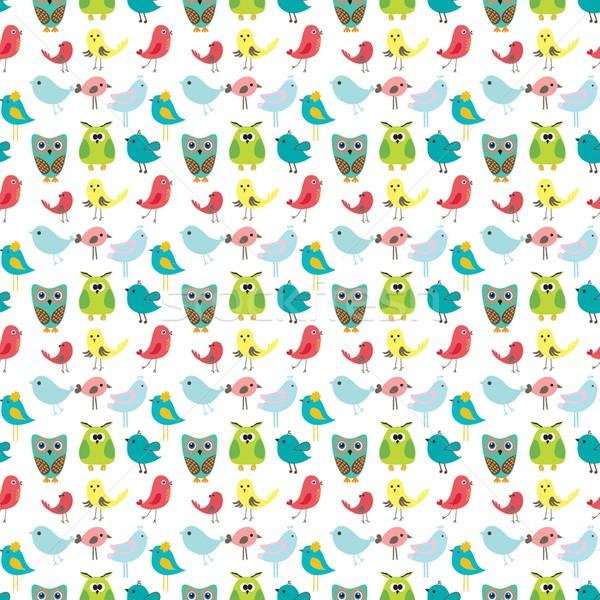 Vector beauty love birds seamless pattern Stock photo © mcherevan