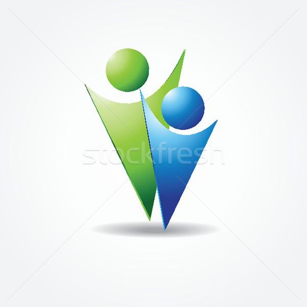 Vektor ikon két személy kék zöld színek Stock fotó © mcherevan