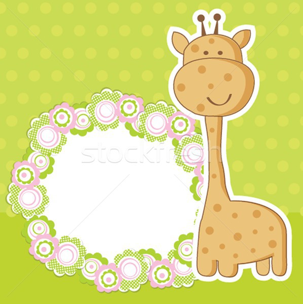 Vintage baby girl arrival announcement card. Stock photo © mcherevan