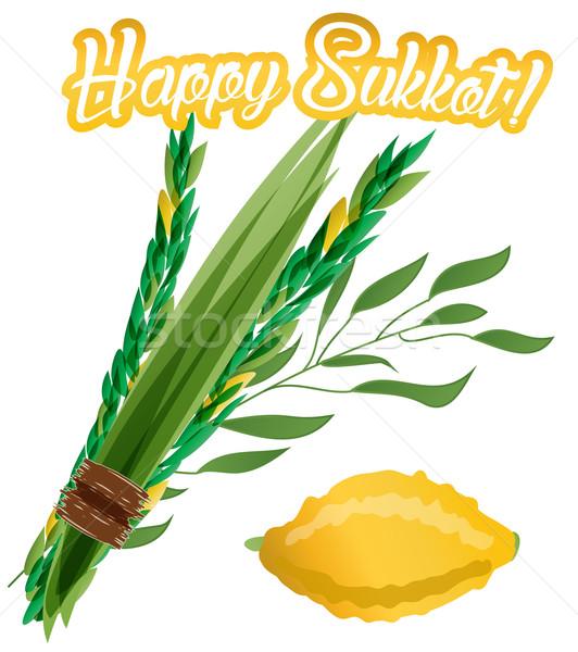 Holiday of Sukkot vector illustration. Stock photo © mcherevan