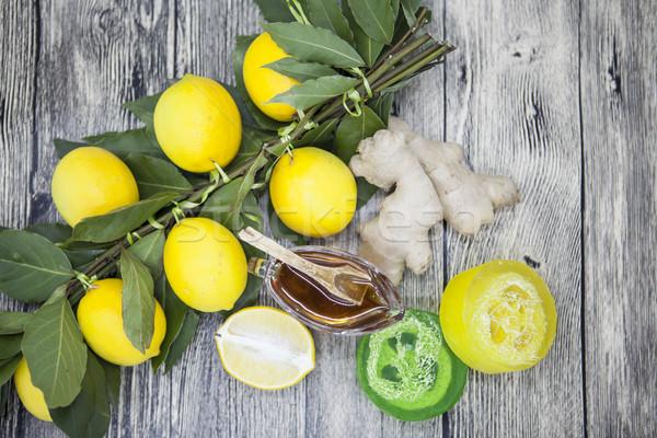 Honey lemon ginger handmade soap, composed for Spa treatments. Stock photo © mcherevan