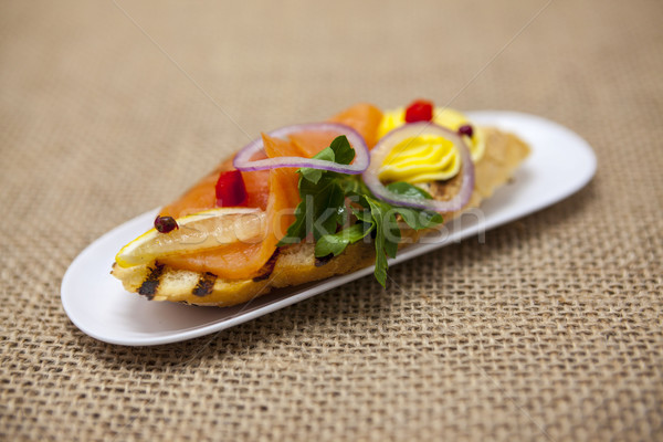 Fresco espanhol tapas pão fumado Foto stock © mcherevan