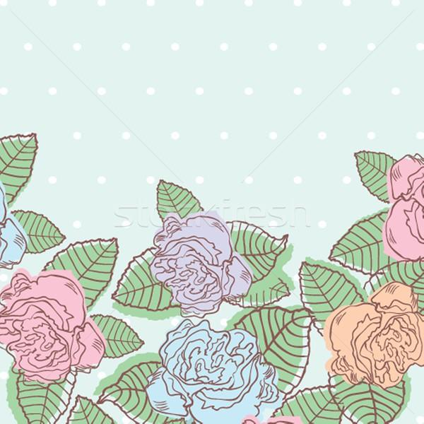 Pastel roses bleu à pois floral Photo stock © mcherevan